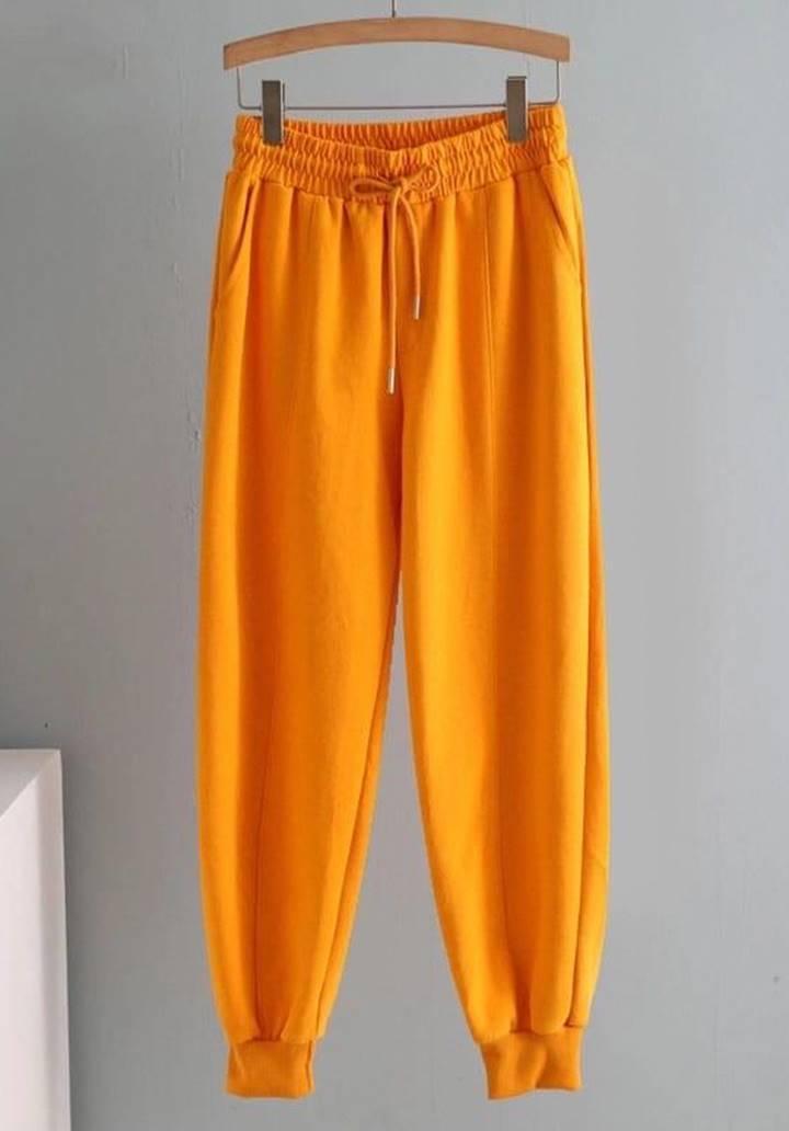 Paçası Biyeli Üç İplik Alt Eşofman (Orange)