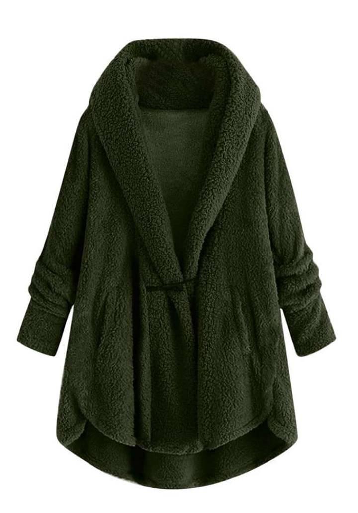 Ceket Yaka Wellsoft Pelerin Model Hırka (Haki)