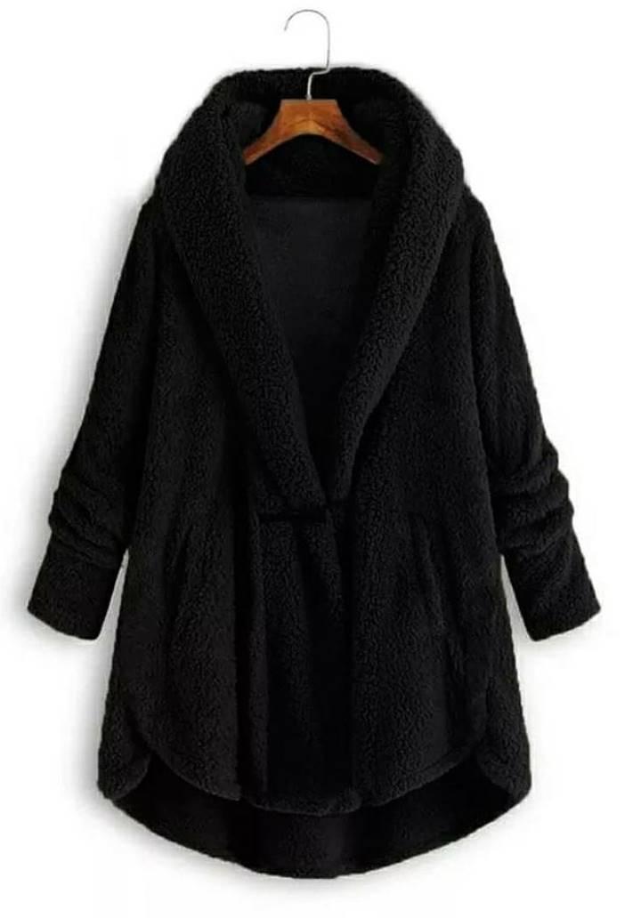 Ceket Yaka Wellsoft Pelerin Model Hırka (Siyah)