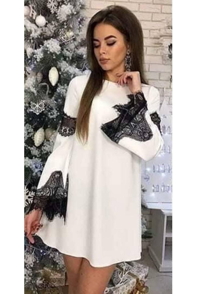 Kolları dantel detaylı kloş elbise(ekru)