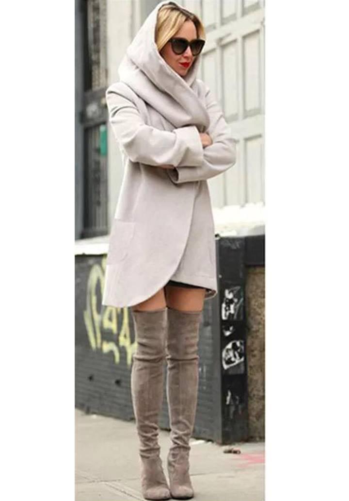 Taş rengi kapşonlu kaşe şardonlu ceket