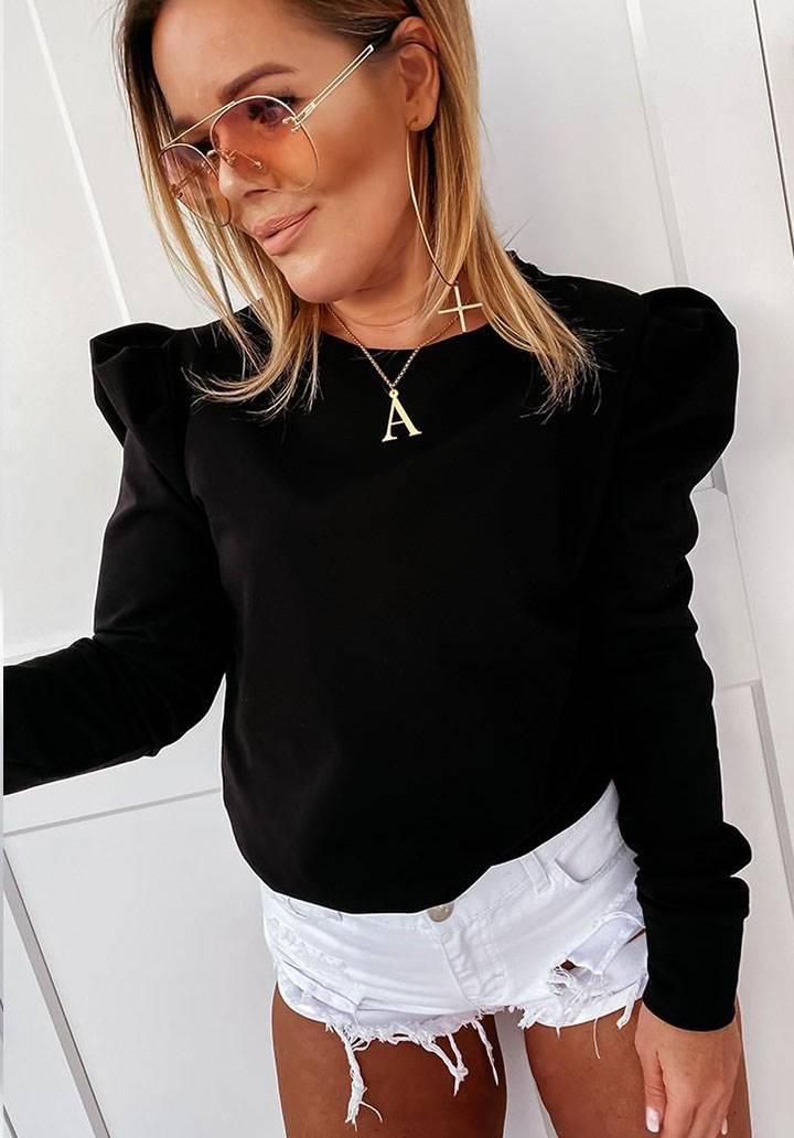 Balon kol siyah süprem bluz