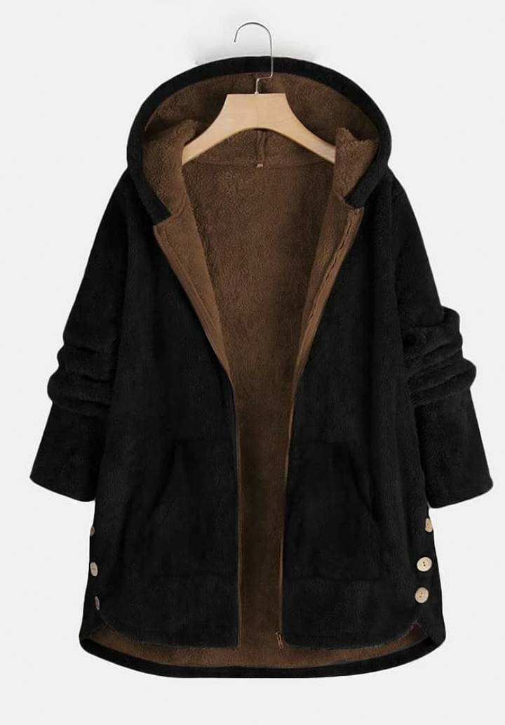 Kapşonlu Düğme Detay Çift Kat Wellsoft Ceket (Siyah)