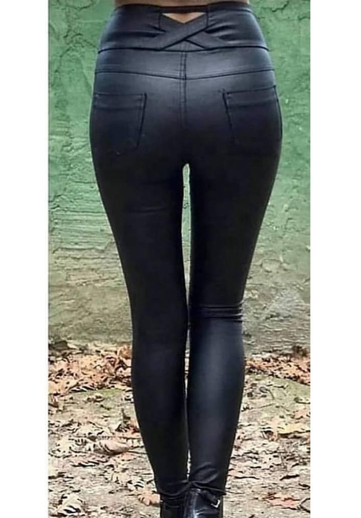 Yüksek Bel Mumlu Kanvas Pantolon