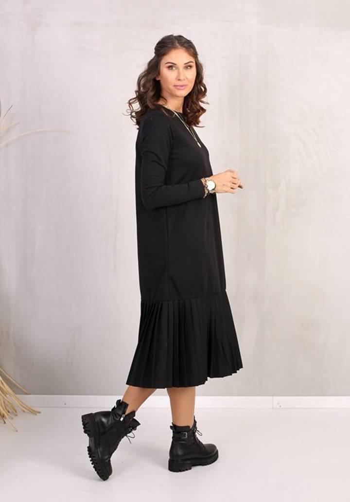 Eteği Pliseli Midi Boy Elbise (Siyah)