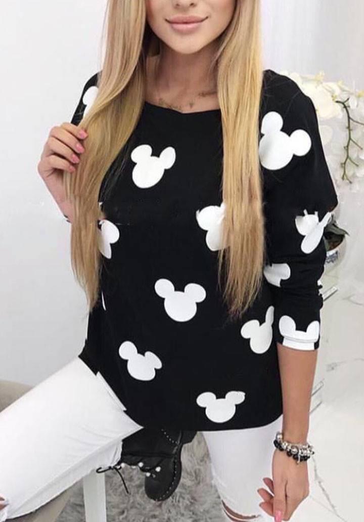 Siyah baskılı bluz