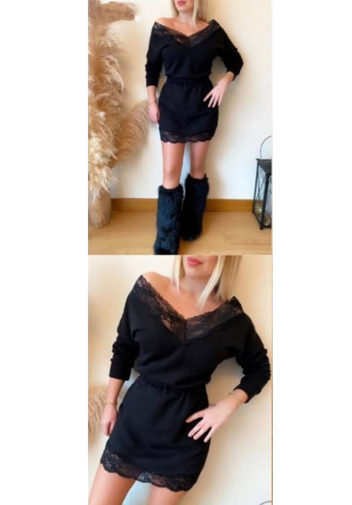 Yakası Etek Ucu Gupur Detay Elbise