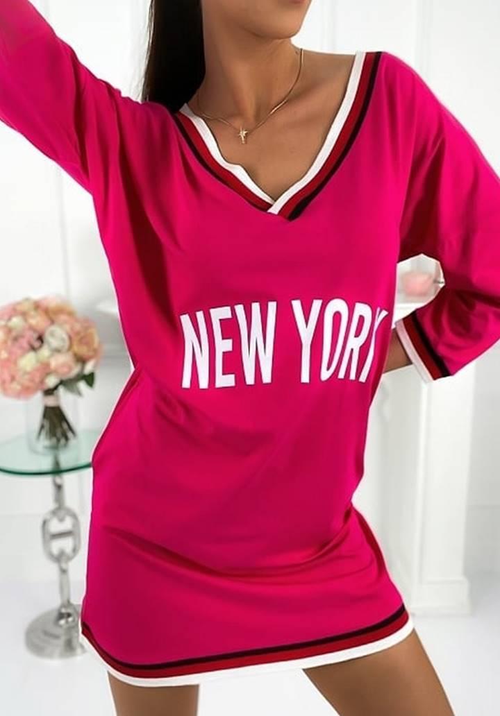 New York Baskılı V yaka Spor Elbise