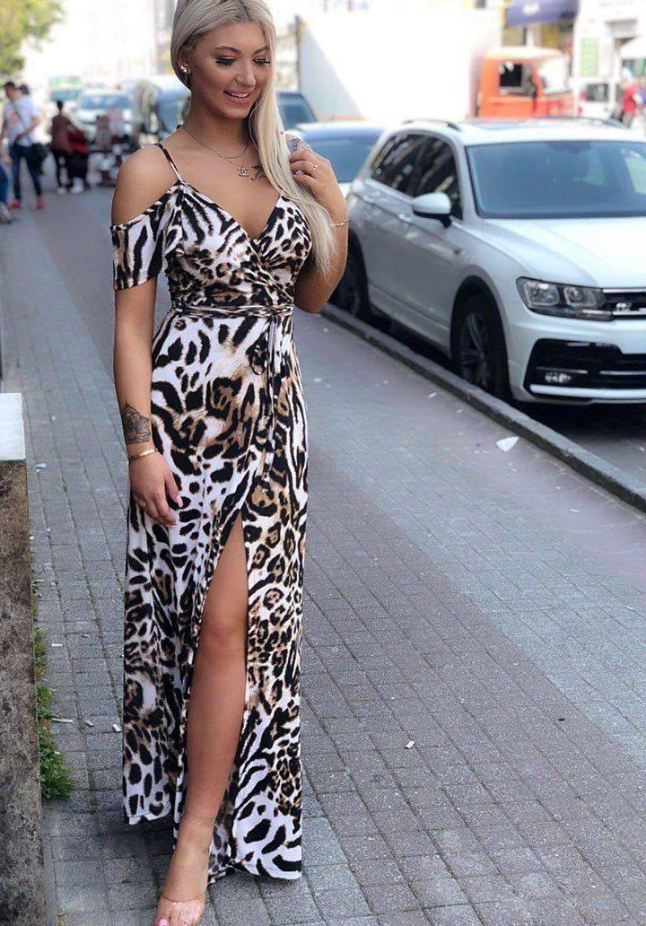 Omuz dekolteli leopar desen elbise