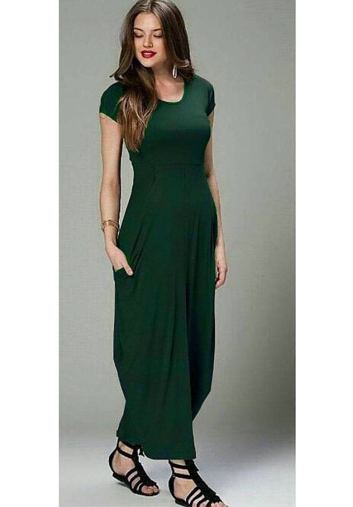 Yeşil cepli viscon spor elbise