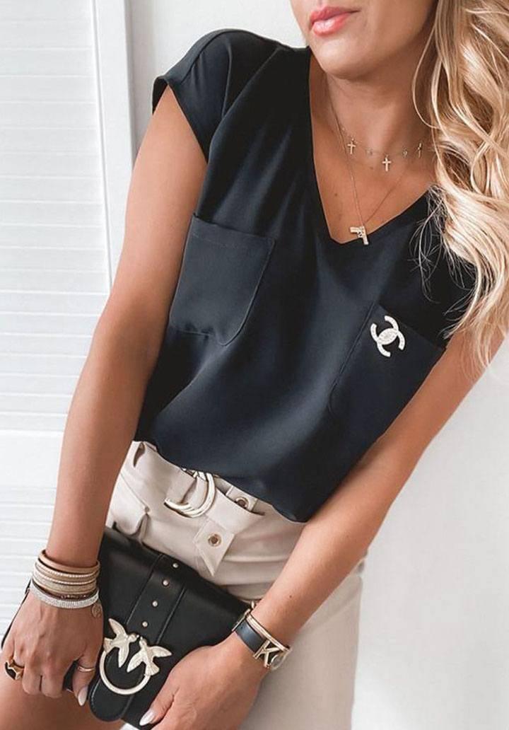 Siyah cepli chanell tshirt