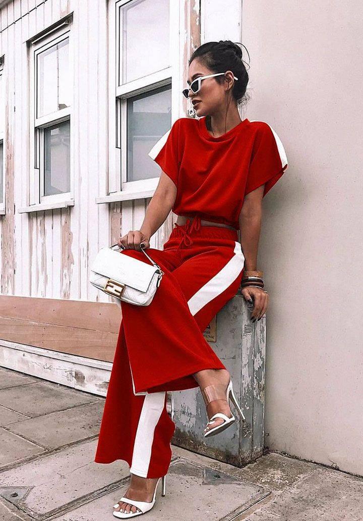 Yanı şeritli atlas kumaş takım(kırmızı)