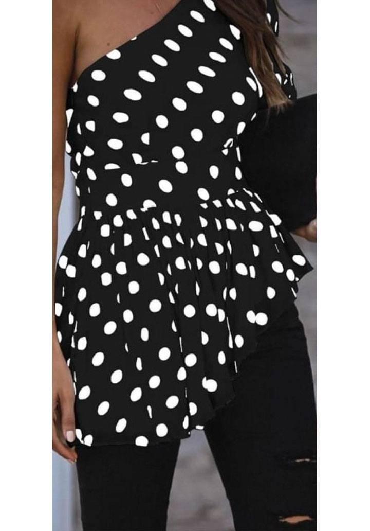 Tek omuz puantiyeli asimetrik kesim bluz(siyah)