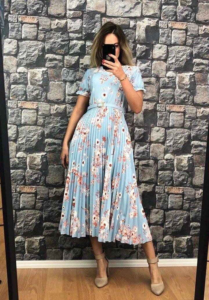 Eteği pliseli çiçekli yeni sezon elbise