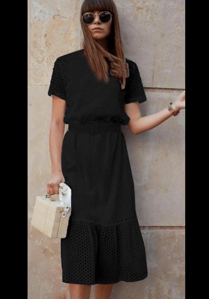 Siyah kemerli fisto elbise