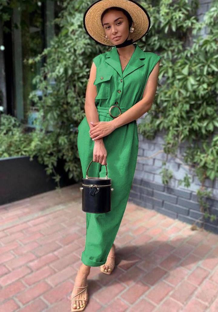 Yeşil kemerli zara tulum