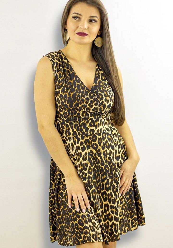 Kuruvaze yaka leopar desen elbise