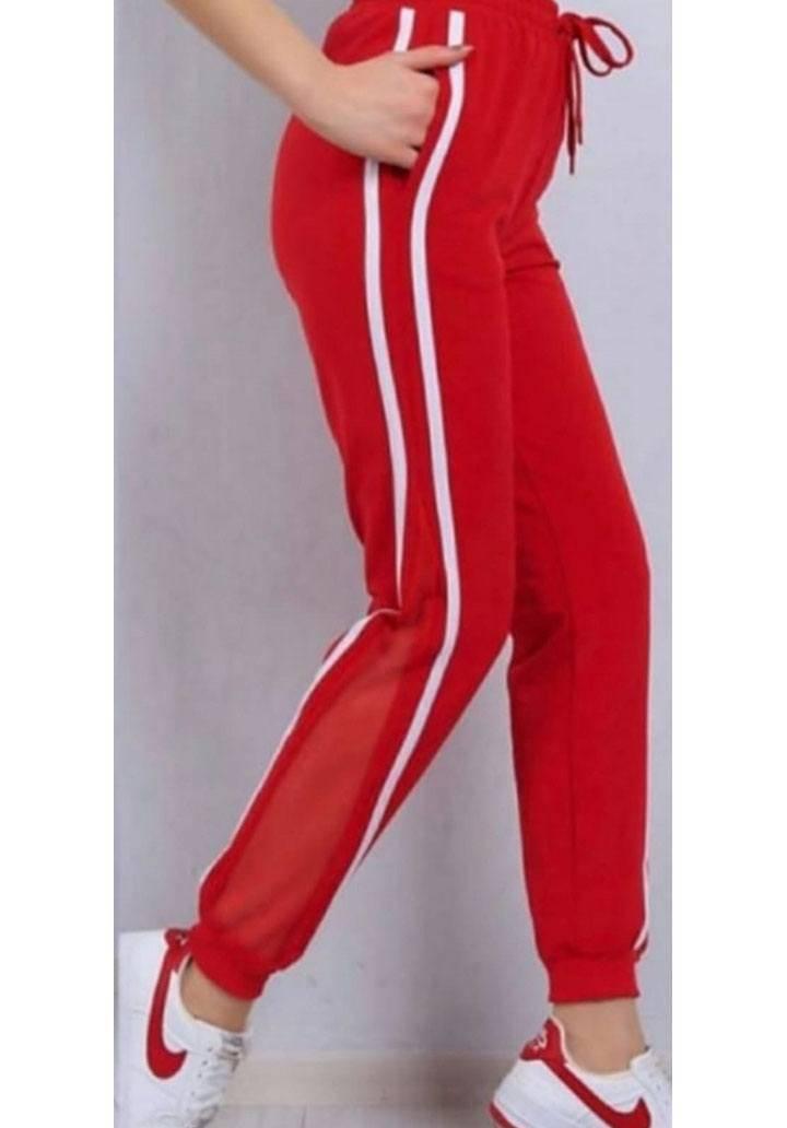 Kırmızı yanı şeritli tül detay pantalon