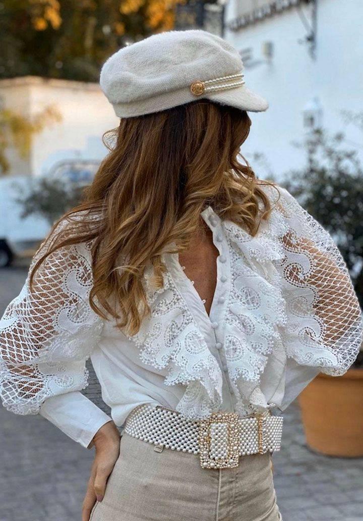 İthal kumaş dantelli tasarım gömlek