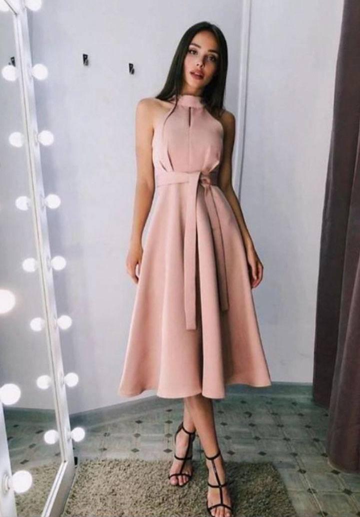 Pudra atlas kumaş kolsuz midi boy elbise
