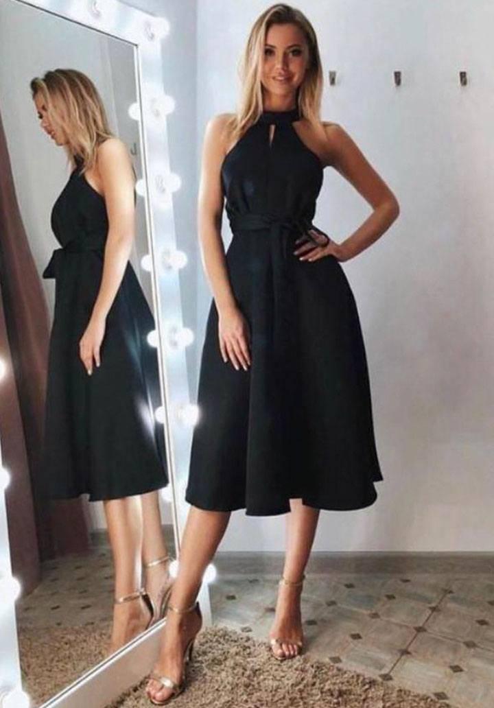 Siyah atlas kumaş kolsuz midi boy elbise (kuşaksız)