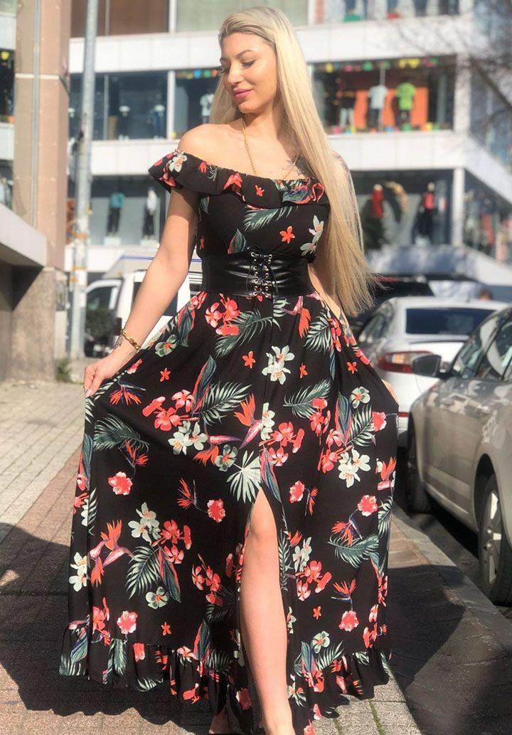 Madonna yaka çiçek desen kemerli elbise
