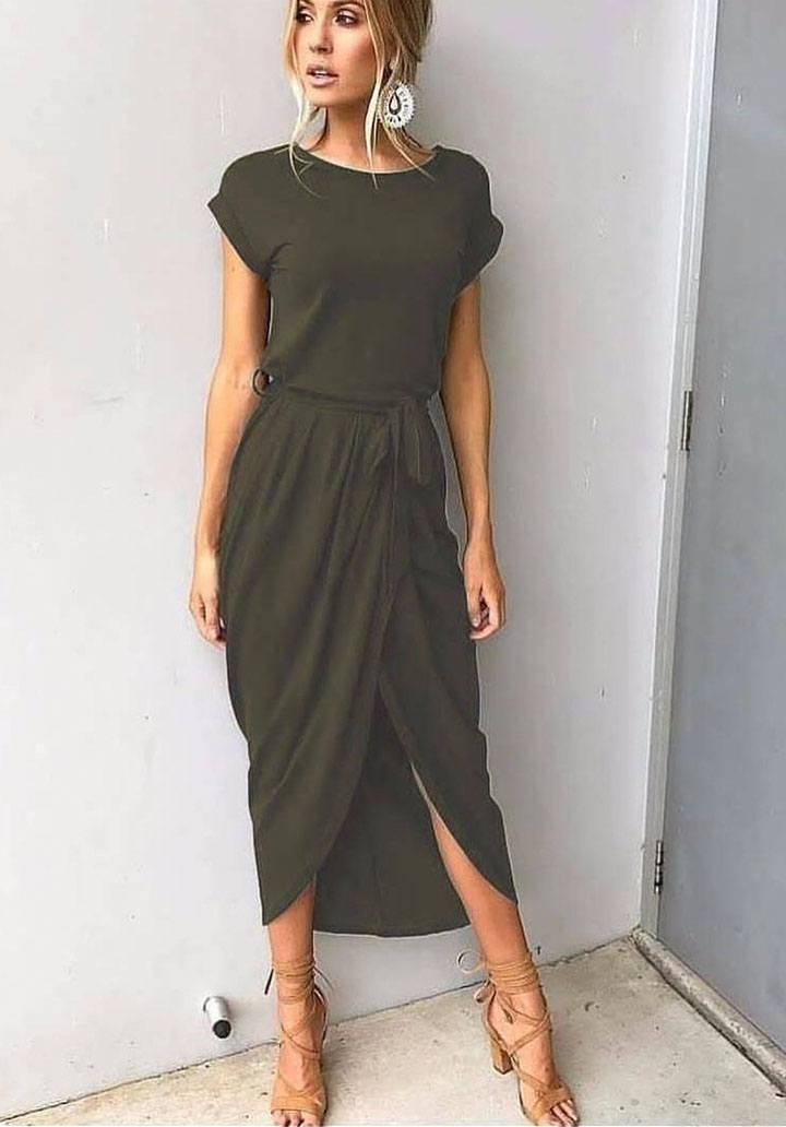 Haki asimetrik kesim elbise