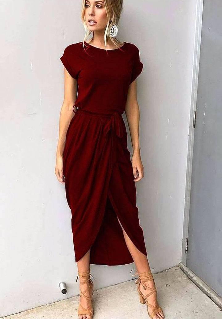 Bordo asimetrik kesim elbise
