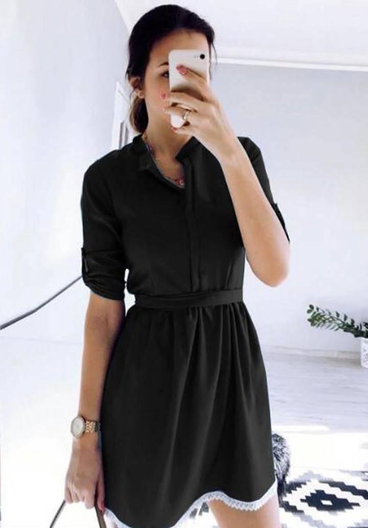 Siyah eteği dantel ayrobin elbise