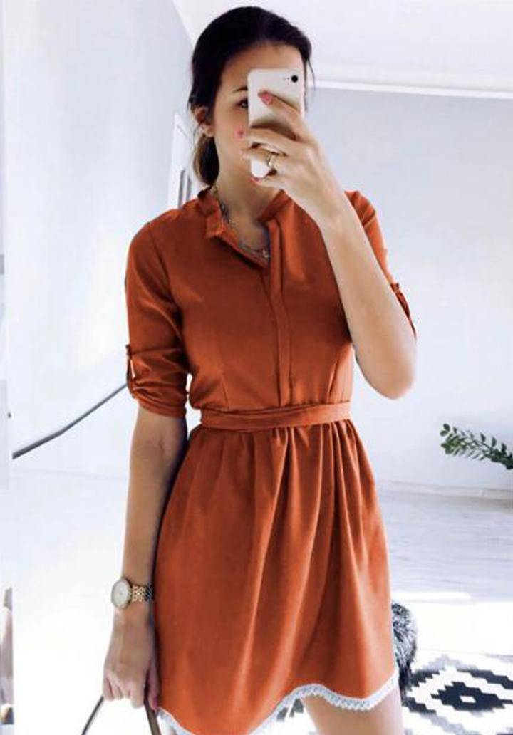 Tarçın eteği dantel ayrobin elbise