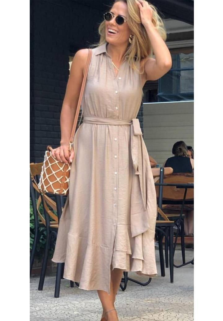 Bej polo yaka kuşaklı elbise