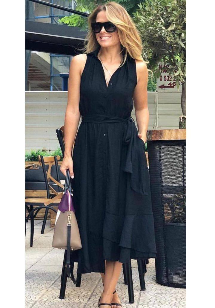 Siyah polo yaka kuşaklı elbise
