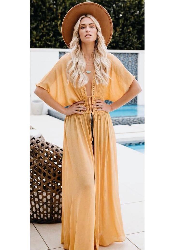 Hardal beli güpürlü pareo elbise