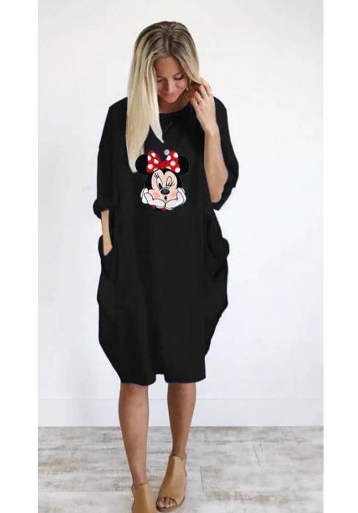 Minnie baskılı viscon elbise(siyah)