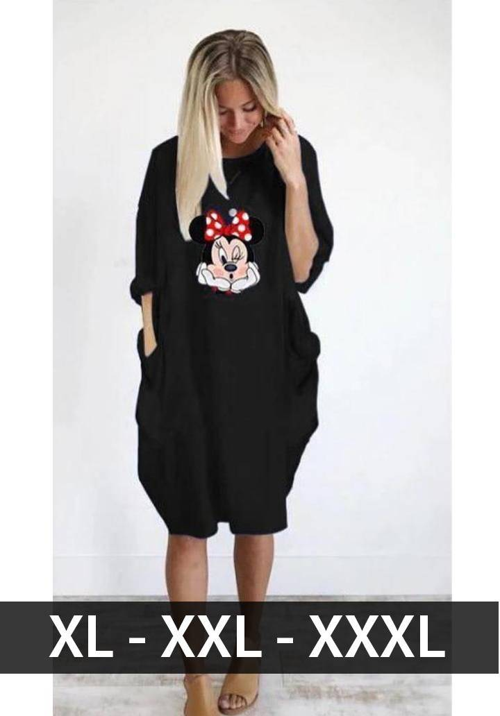 Minnie baskılı viscon elbise(siyah) - 1