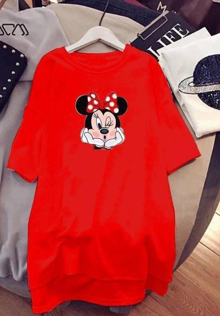 Minnie baskılı viscon elbise(kırmızı)