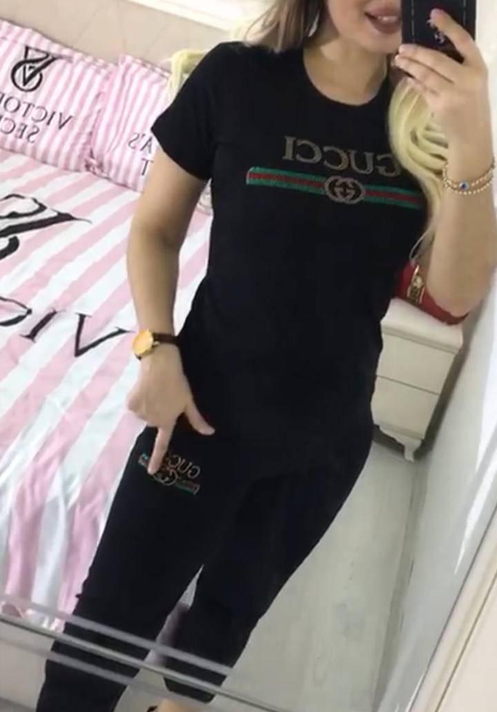 Gucci taşlı alt üst ikili takım(siyah)