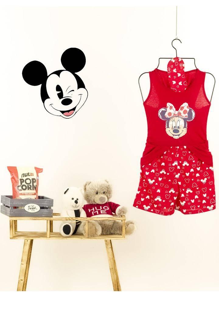 Minnie desen şortlu pijama takımı(kırmızı)