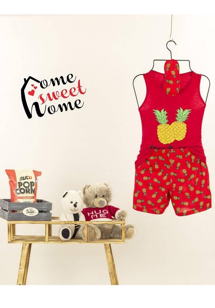 Ananas desen şortlu pijama takımı(kırmızı)