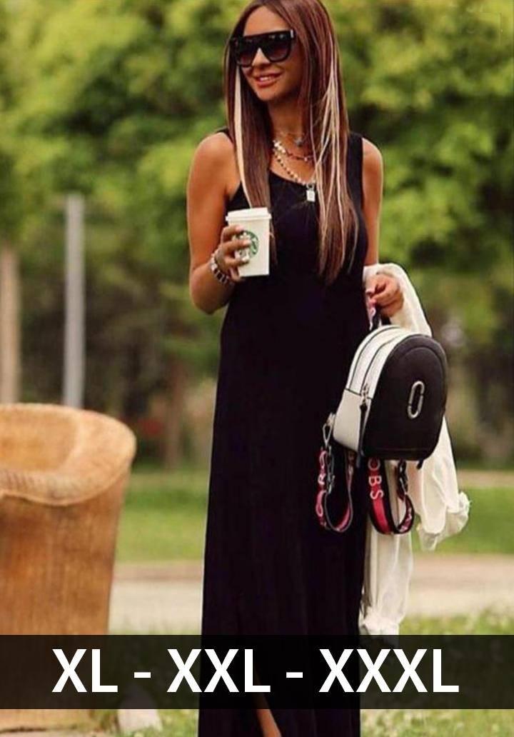 Siyah basic yırtmaçlı elbise
