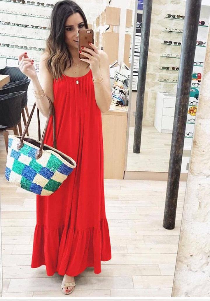 İp askılı eteği volanlı maxi boy salaş elbise(kırmızı)