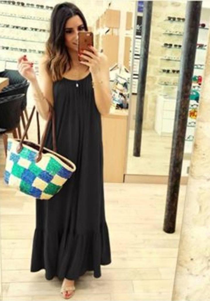 İp askılı eteği volanlı maxi boy salaş elbise(siyah)