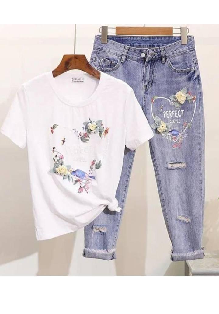Perfect kot tshirt ikili takım(beyaz)