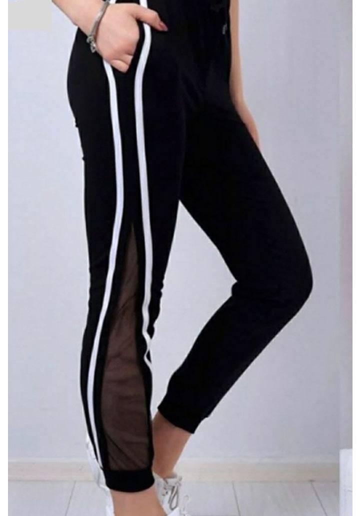 Siyah yanı şeritli file detay pantalon