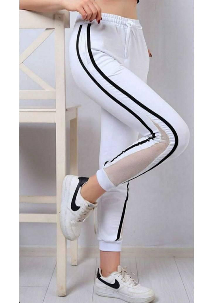 Beyaz yanı şeritli file detay pantalon