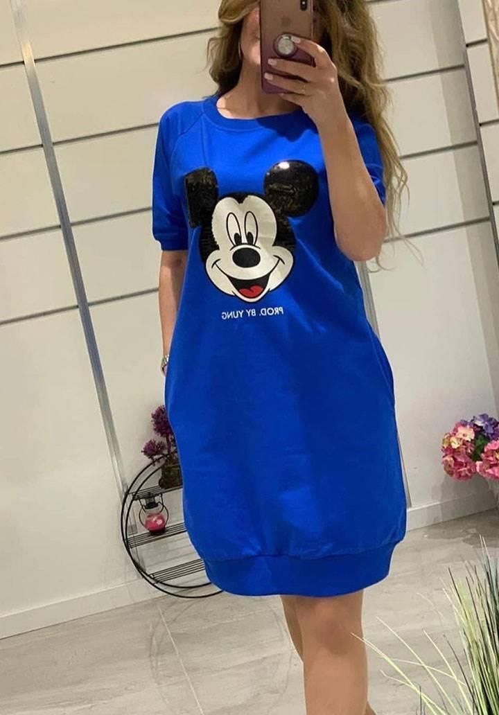 Mickey payetli cepli spor elbise(sax)