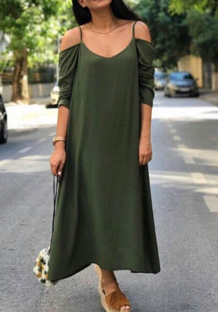 Haki omuz dekolteli fakir kol salaş elbise
