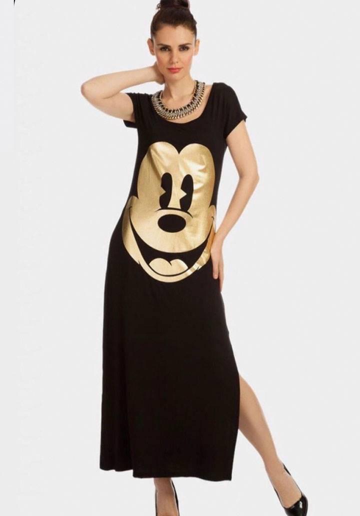 Mickey varak baskılı maxi boy yırtmaçlı elbise