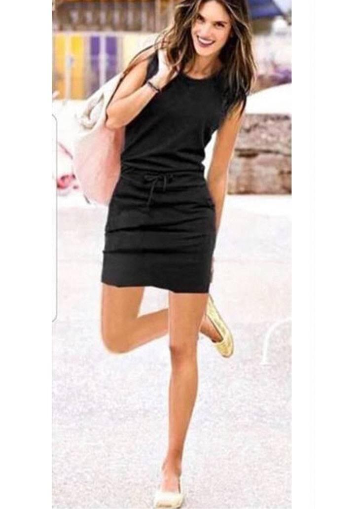 Beli bağcıklı cepli kolsuz spor elbise(siyah)