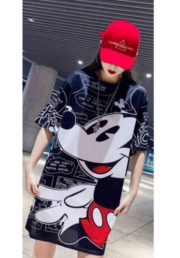 Disney mickey digital baskı elbise(siyah)